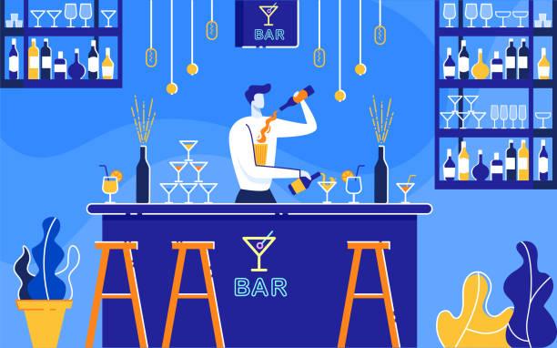 바 플랫에서 알코올 칵테일을 준비하는 바만. - bartender stock illustrations