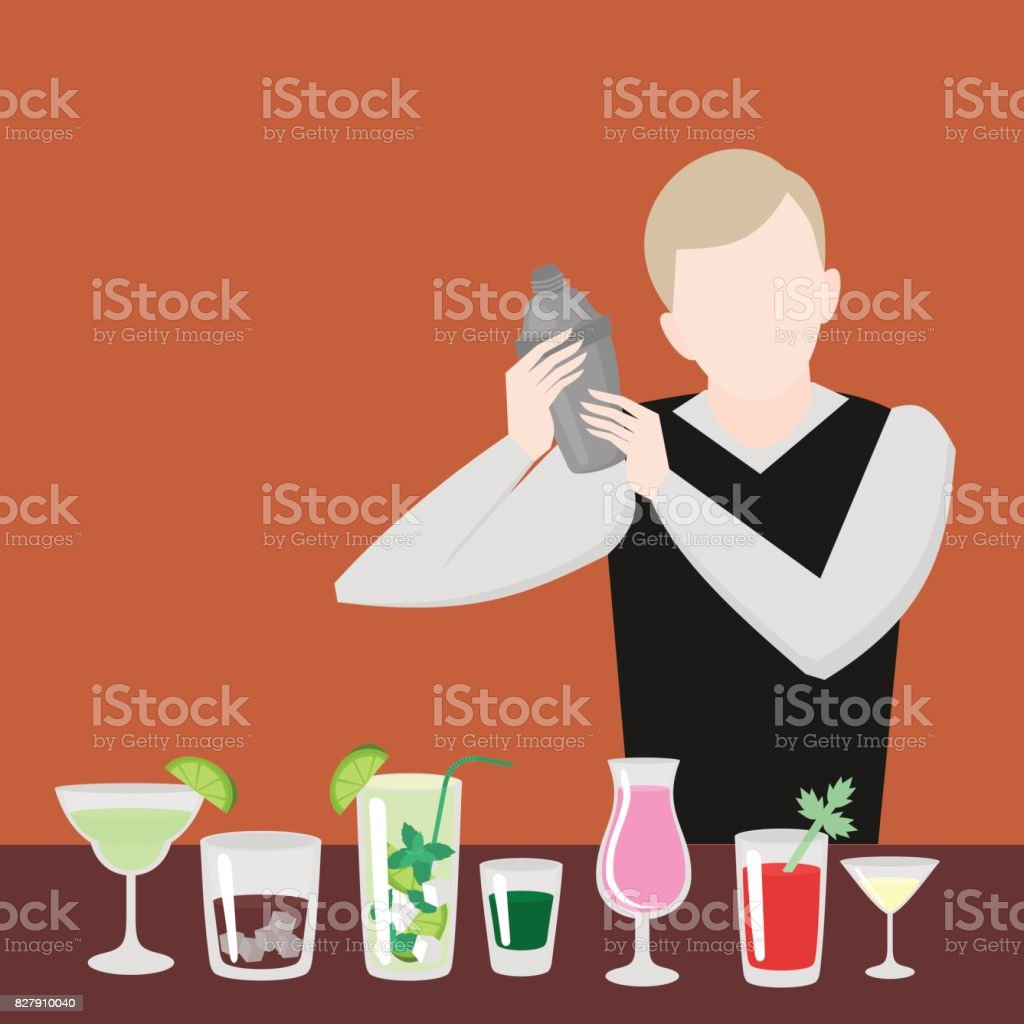 Barman show. Night life in bar. Man mix beverage. Alcoholic cocktails and bottles icon set. vector art illustration
