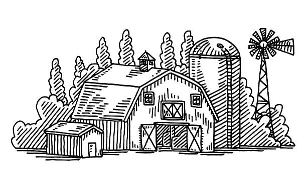 barn agriculture building drawing - clip art of a black and white barn stock illustrations, clip art, cartoons, & icons