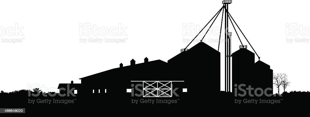Barn and farm silos vector art illustration