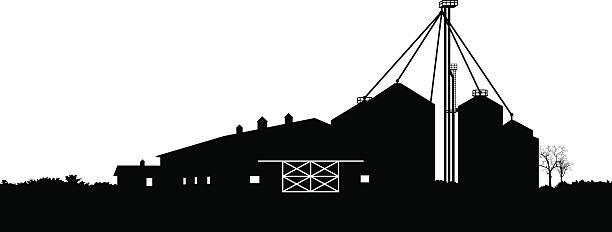 barn and farm silos - clip art of a black and white barn stock illustrations, clip art, cartoons, & icons