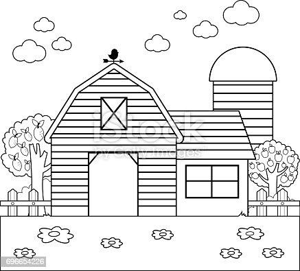 istock Animales de granja vectorial colección de ilustración. Blanco y ...