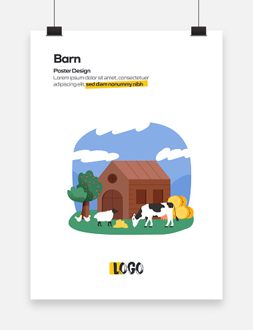 Barn Concept Flat Design for Posters, Covers and Banners. Modern Flat Design Vector Illustration.