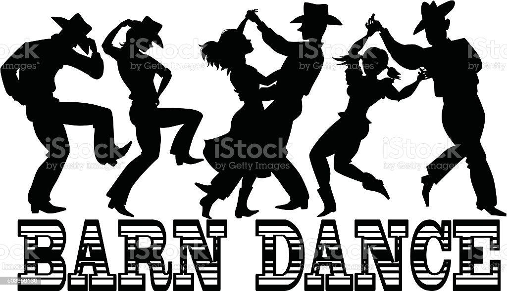 Barn Dance Silhouette vector art illustration