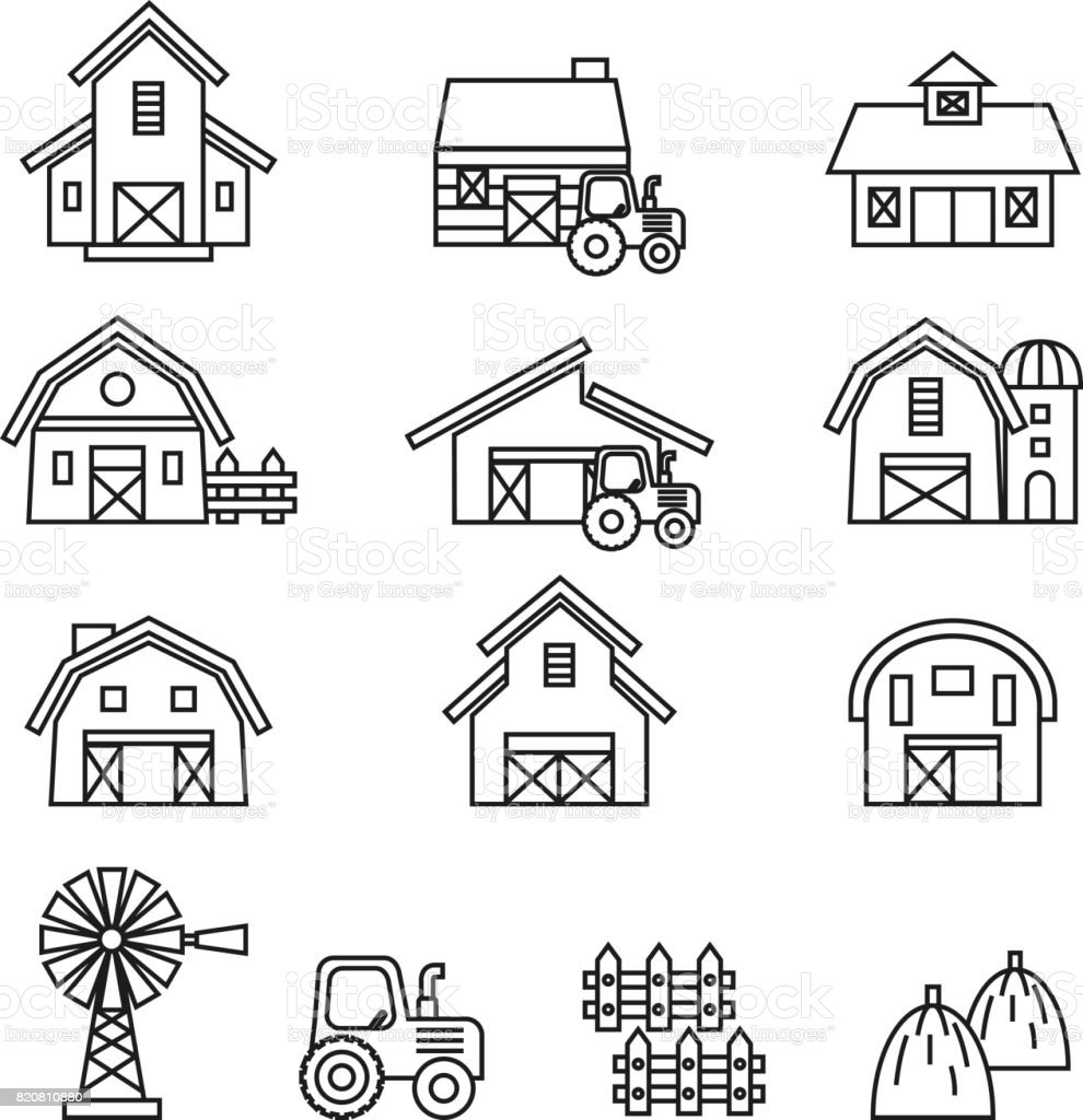 Barn & farm building icon set. Line Style stock vector. vector art illustration