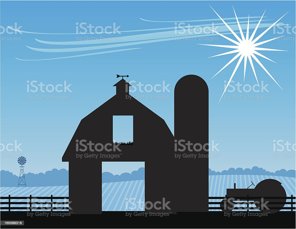Barn hay loft vector art illustration
