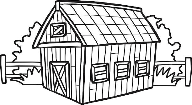 barn house - clip art of a black and white barn stock illustrations, clip art, cartoons, & icons