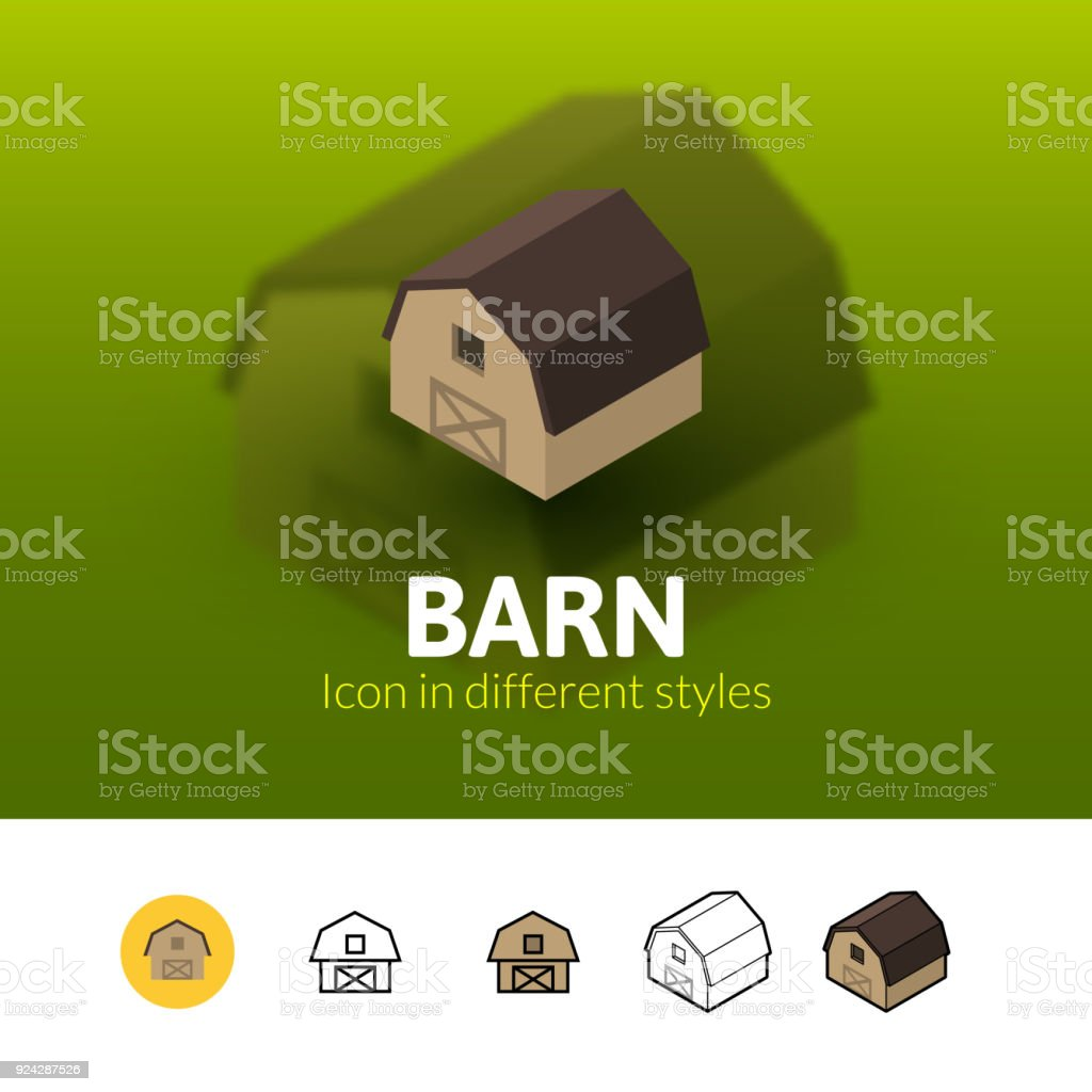 Barn icon in different style vector art illustration