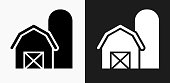 Barn Icon on Black and White Vector Backgrounds