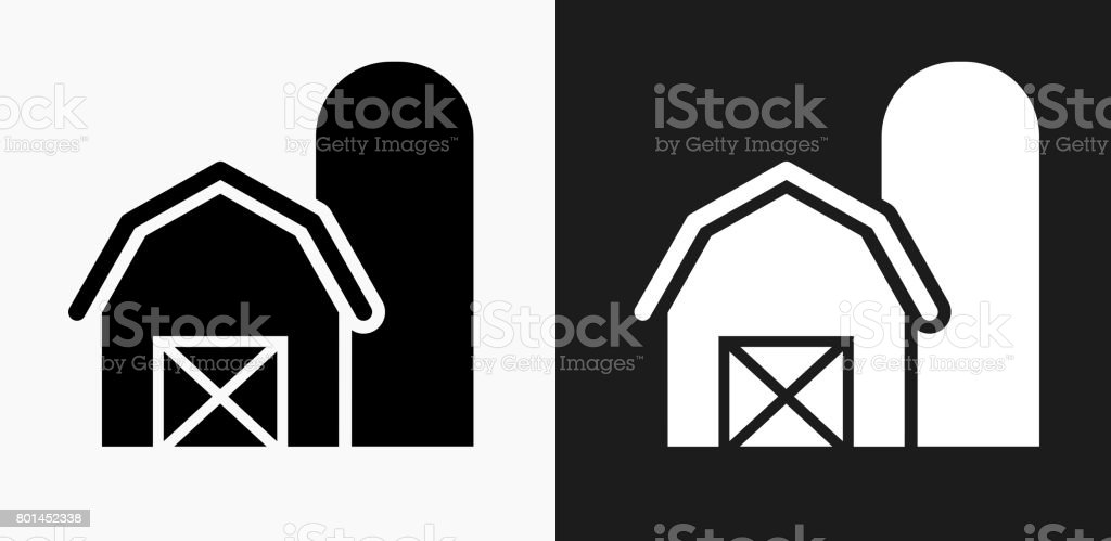 Barn Icon on Black and White Vector Backgrounds vector art illustration