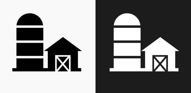 barn icon on black and white vector backgrounds - clip art of a black and white barn stock illustrations, clip art, cartoons, & icons