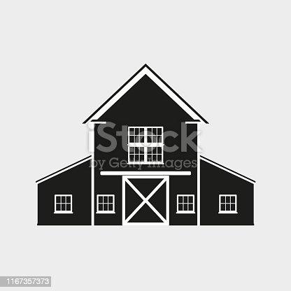 Barn icon. Vector illustration of farm house.