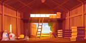 Barn on farm with harvest, straw and hay. Vector cartoon interior of old wooden shed with haystack on loft, ladder, fork, bags and pumpkin. Rural barnhouse for storage harvest