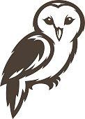 Barn Owl line icon concept symbol. Premium linear bird wildlife brand identity label. Wisdom and knowledge animal emblem. Vector illustration.