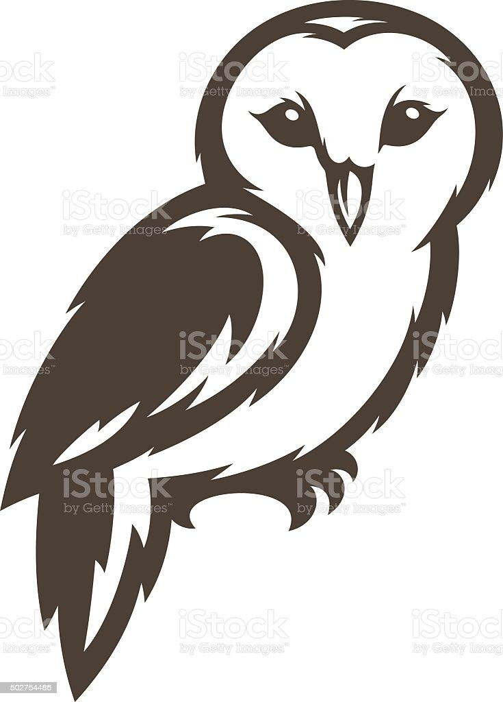 Barn Owl vector art illustration
