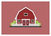 simple isolated illustration of a barn