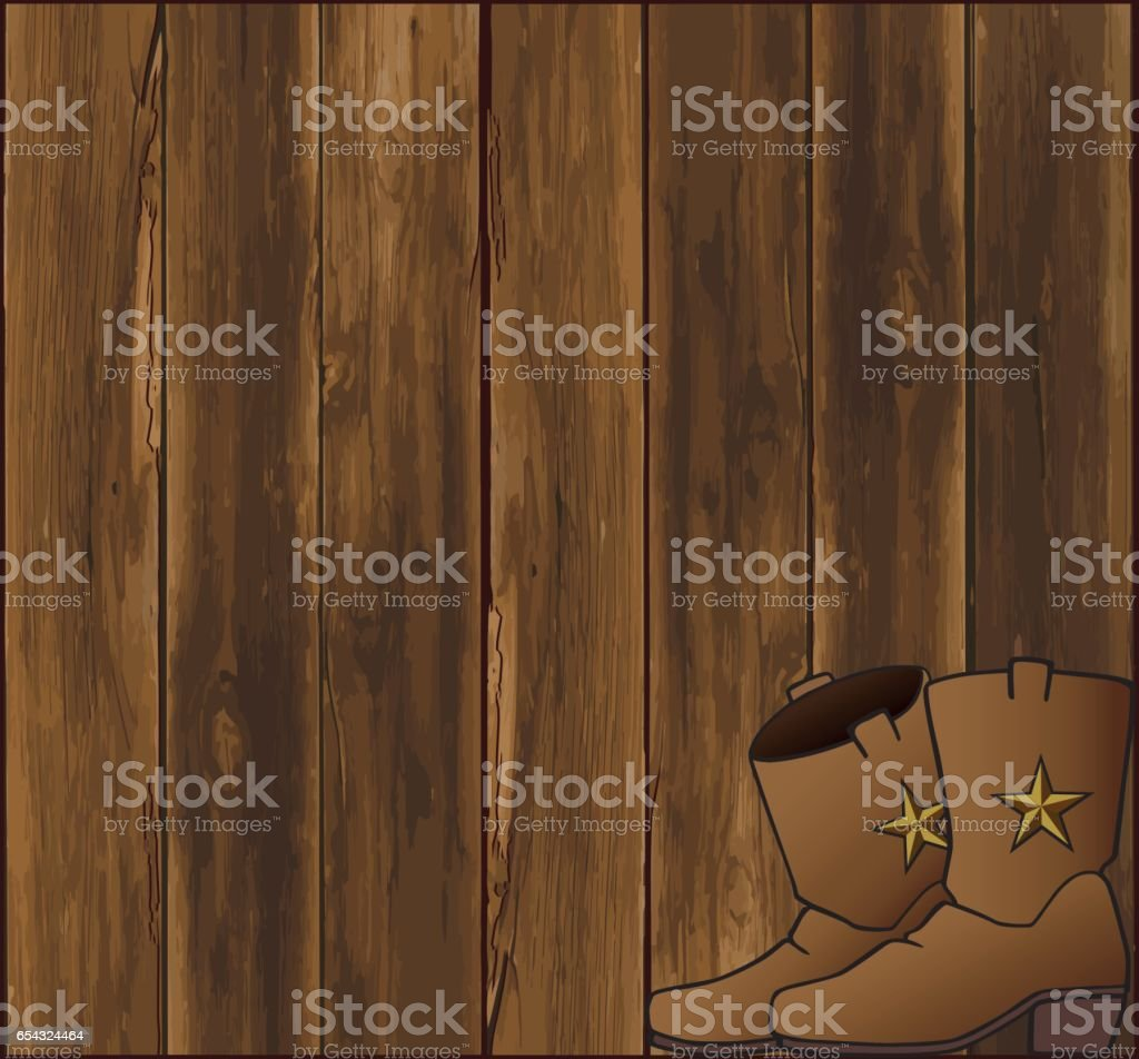 Barn Wall With Boots vector art illustration