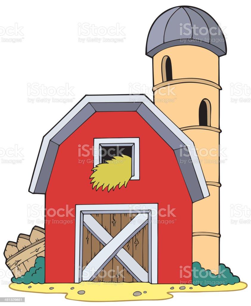 Barn with granary vector art illustration