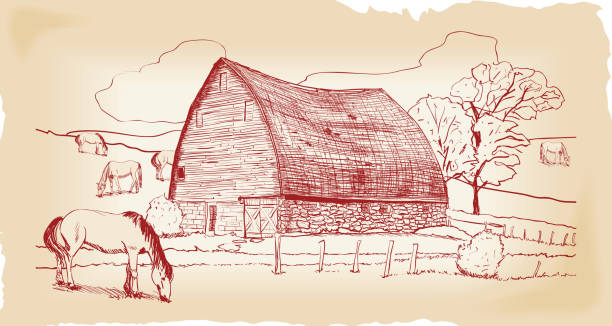 Barn with Pasture and Horses vector art illustration