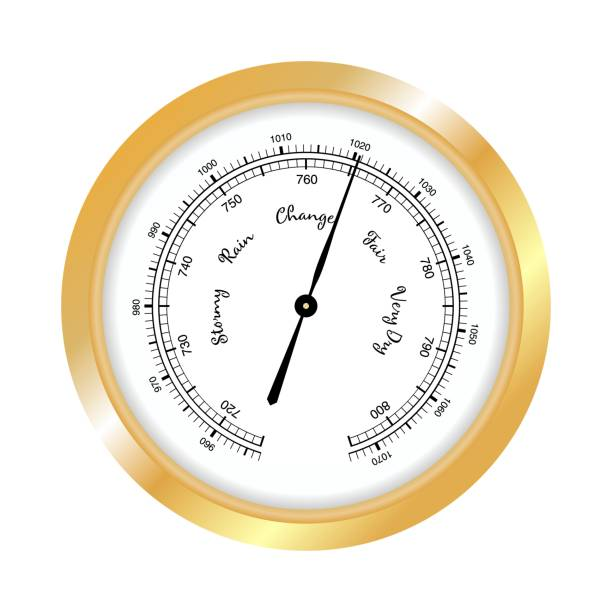 Barometer icon, vector isolated on white background. Rain and stormy, fair and very dry, change. Gold Barometer indicating atmospheric pressure change. vector art illustration