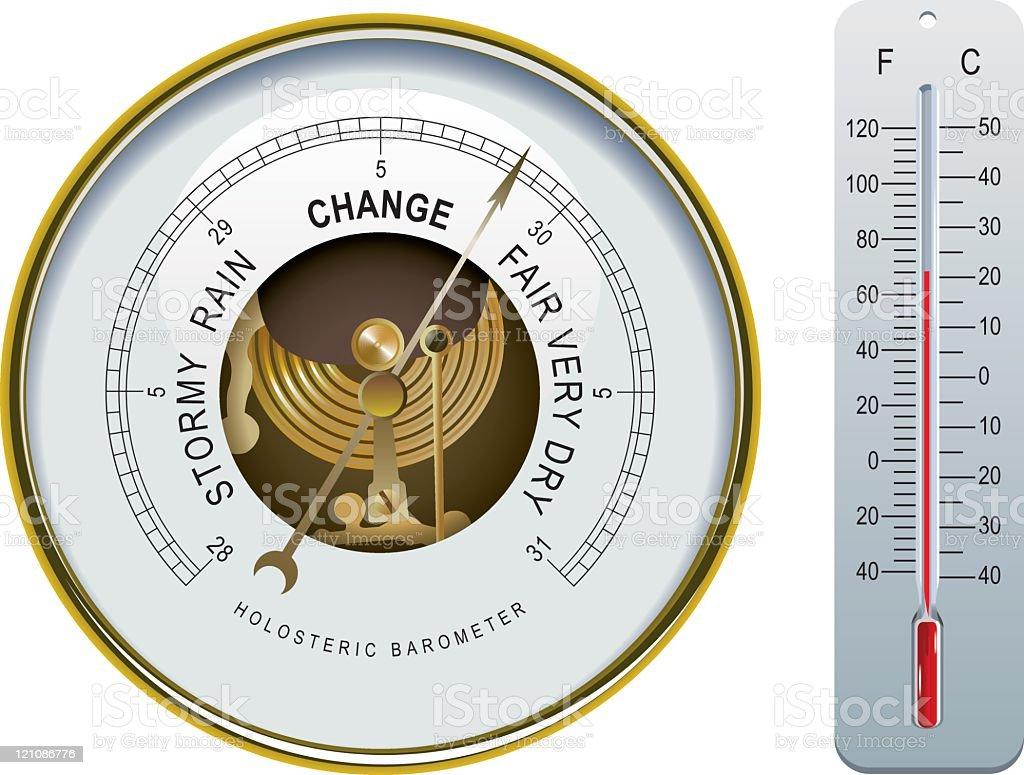 Barometer & Thermometer vector art illustration