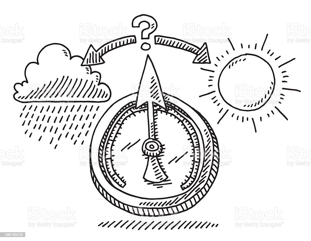 Barometer Weather Change Drawing vector art illustration