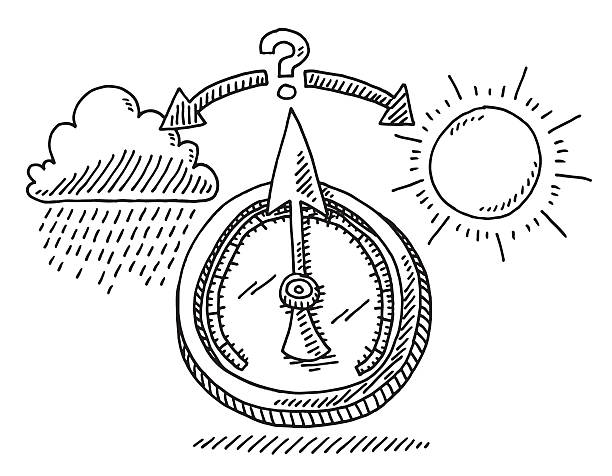 Barometer Weather Change Drawing Hand-drawn vector drawing of a Barometer showing Weather Change, Uncertainty Concept Image. Black-and-White sketch on a transparent background (.eps-file). Included files are EPS (v10) and Hi-Res JPG. environment stock illustrations