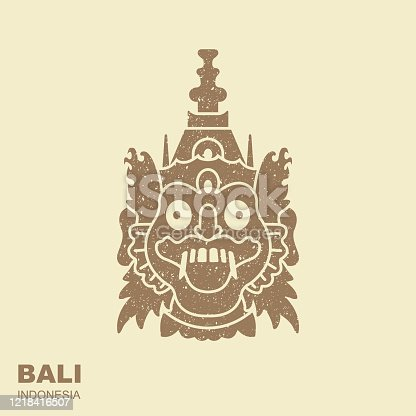 Barong. Traditional ritual Balinese mask. Flat icon with a shabby effect.