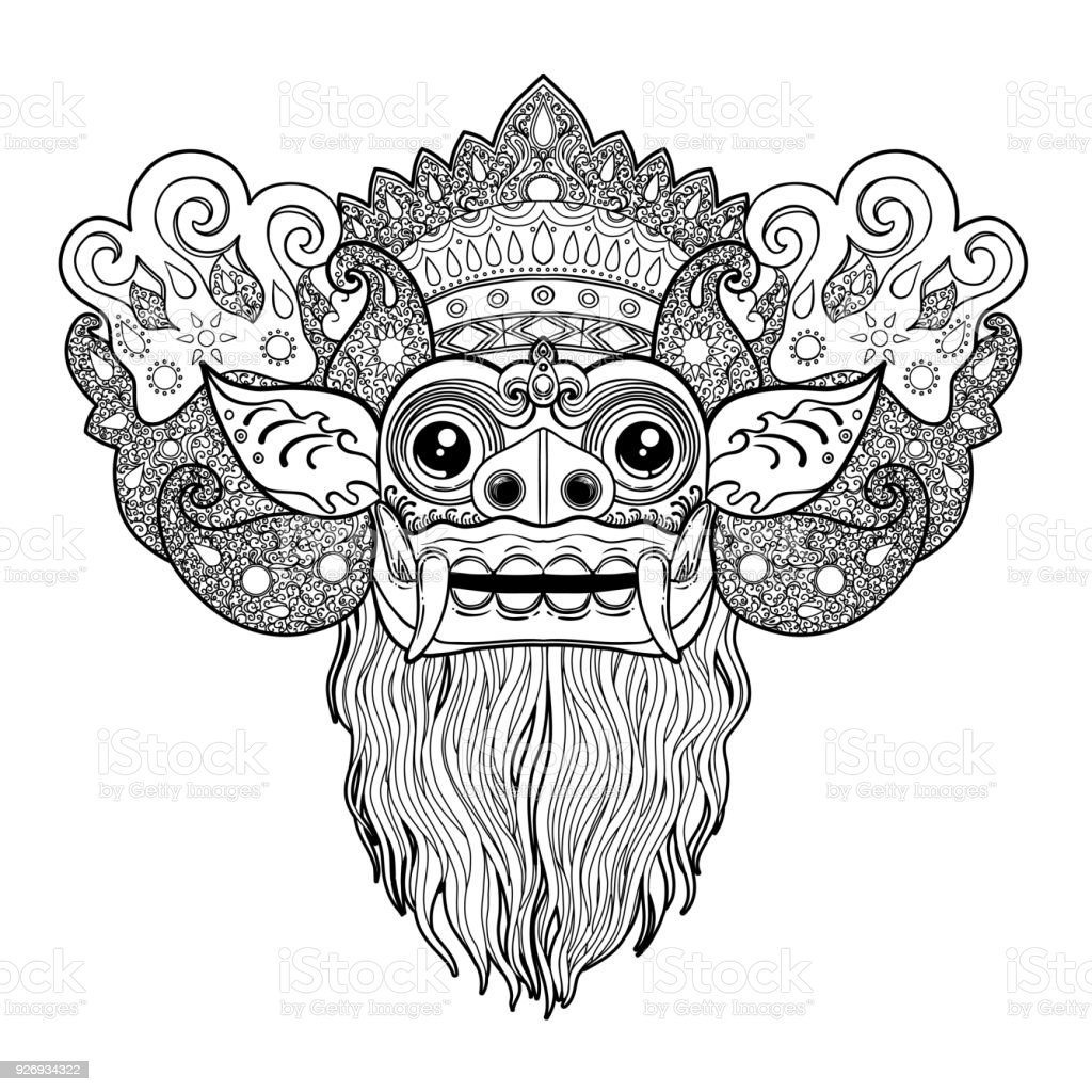 Barong. Traditional ritual Balinese mask. Vector color illustration. vector art illustration