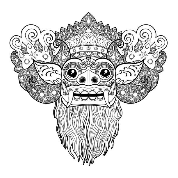 stockillustraties, clipart, cartoons en iconen met barong. traditionele ritueel balinese masker. vectorillustratie kleur. - indonesische cultuur