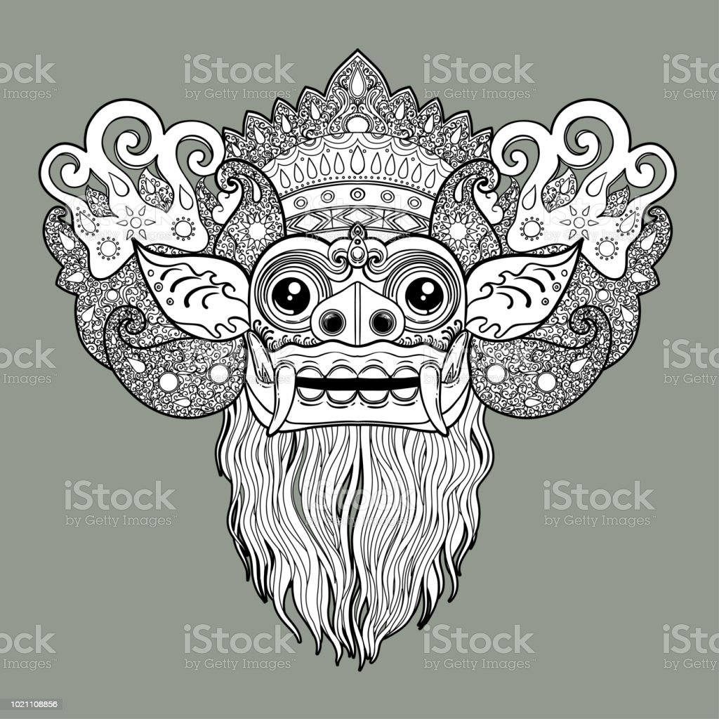 Barong. Traditional ritual Balinese mask. vector art illustration