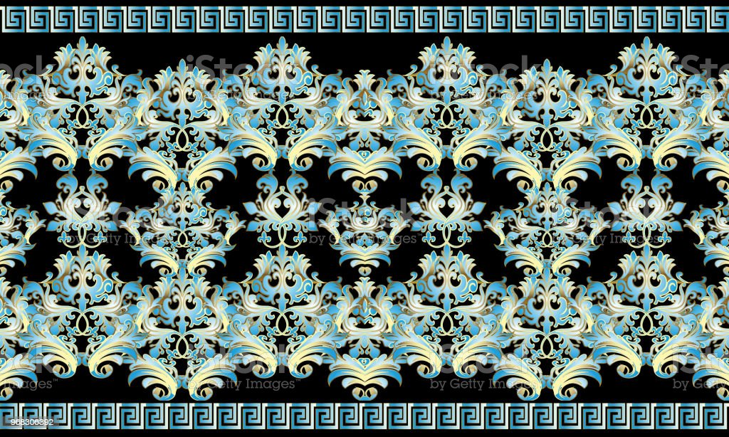 baroque 3d seamless border pattern damask ornaments with blue g