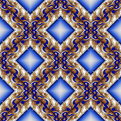 Baroque abstract seamless pattern. Geometric 3d background. Flor