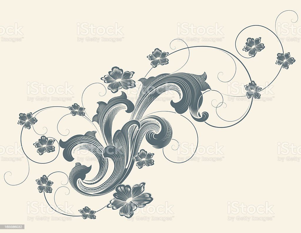 Baroque and Flowers royalty-free stock vector art