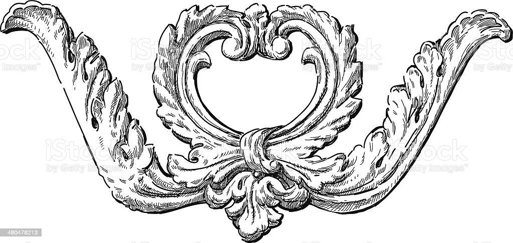 Detalhe arquitetônico barroco - ilustração de arte em vetor