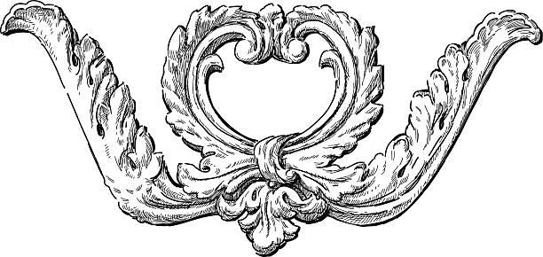 ilustrações, clipart, desenhos animados e ícones de detalhe arquitetônico barroco - molduras decorativas