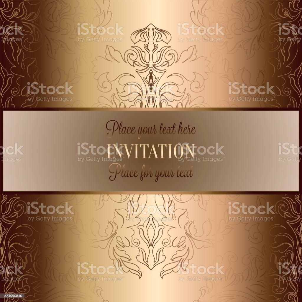 Fundo Barroco Com Antiguidades, Bege De Luxo, Frame Vintage Marrom E Ouro,  Bandeira