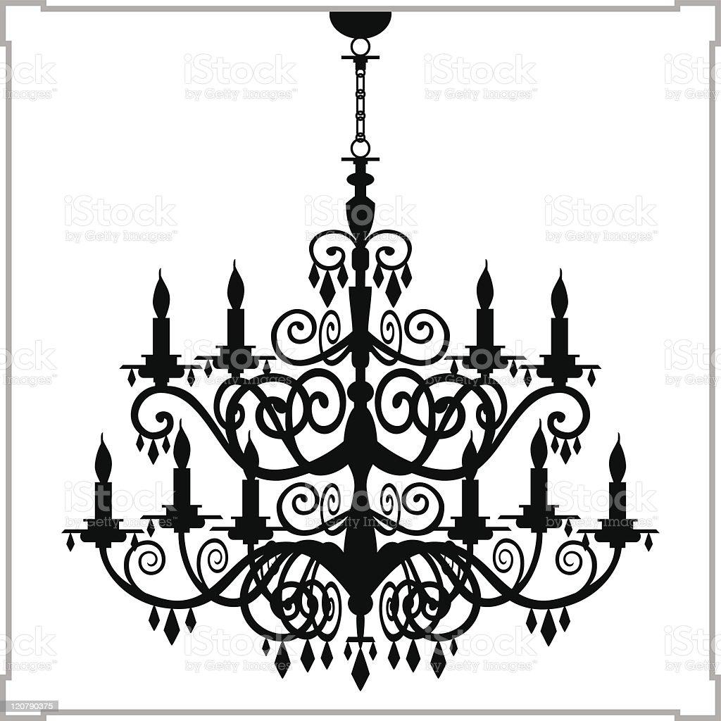 Baroque chandelier silhouette vector art illustration