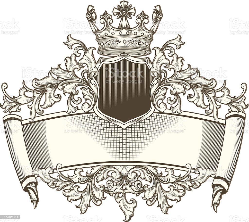 Baroque emblem vector art illustration