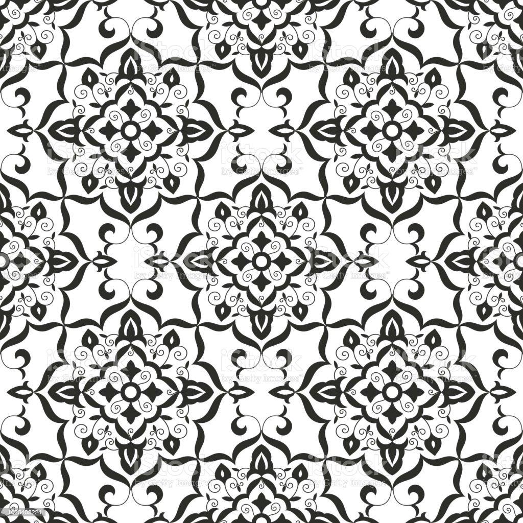 Ilustración de Vector Barroco Patrón Floral Transparente Textura De ...