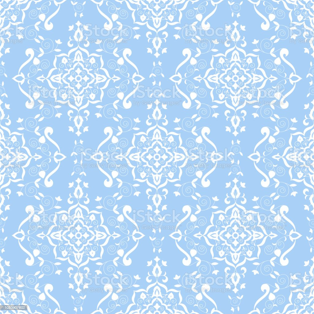 Baroque Floral Pattern Vector Seamless Pastel Colors Damask