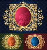 retro-styled ornate oval frame - three color versions, layered vector artwork