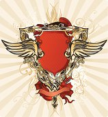 Baroque-styled winged shield with banner & flourishes; vector artwork