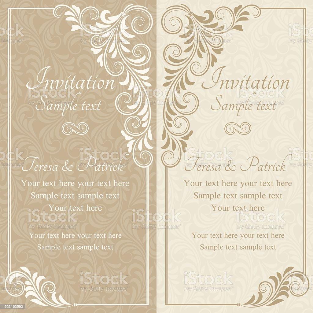 Baroque invitation, beige vector art illustration