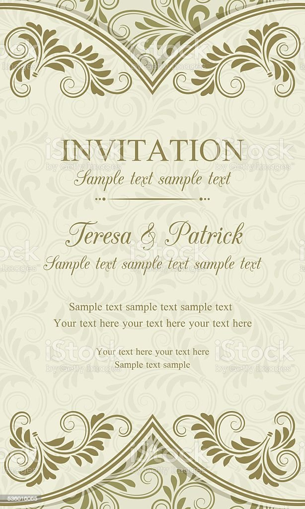 Baroque invitation, gold and beige vector art illustration