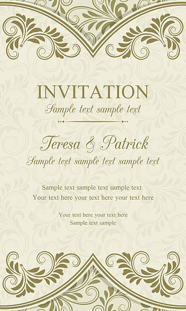 baroque invitation, gold and beige - renaissance style stock illustrations, clip art, cartoons, & icons