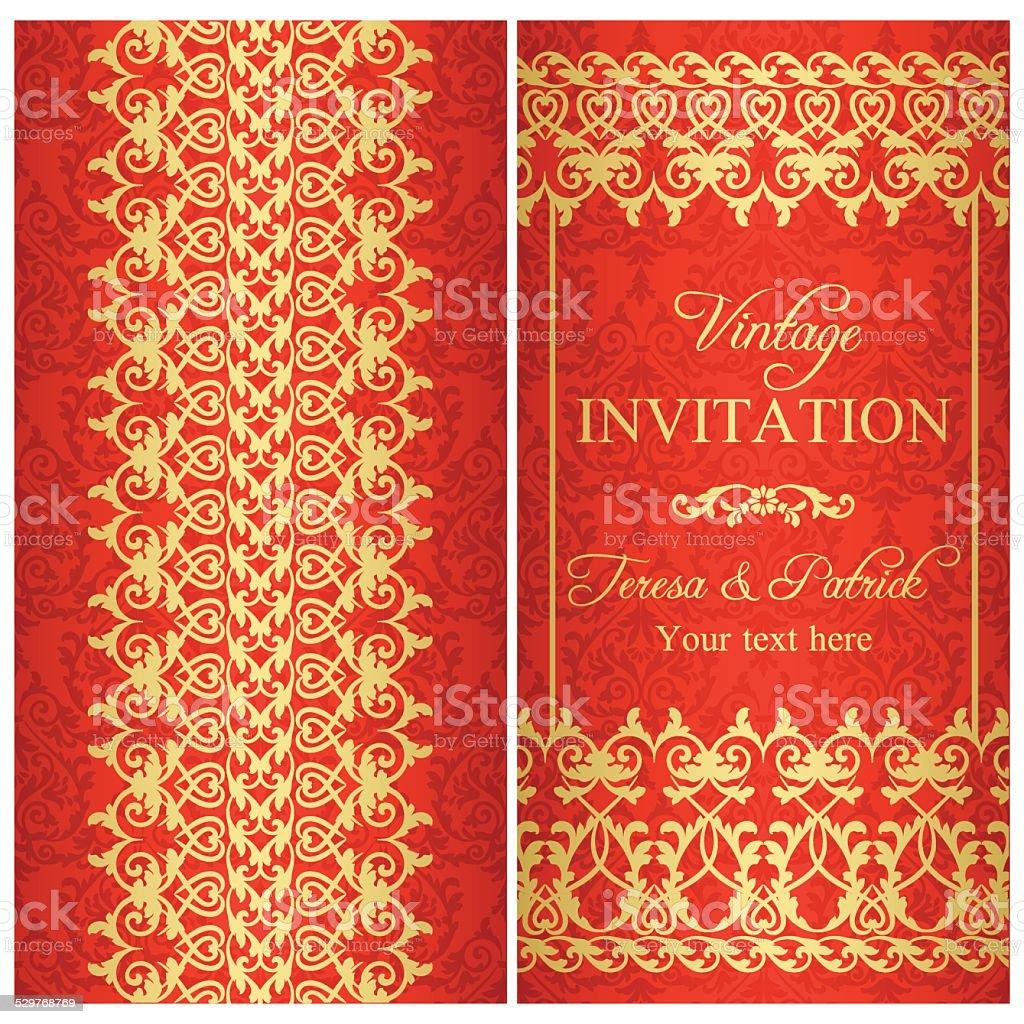 Baroque Invitation Gold And Red Stockvectorkunst En Meer Beelden Van
