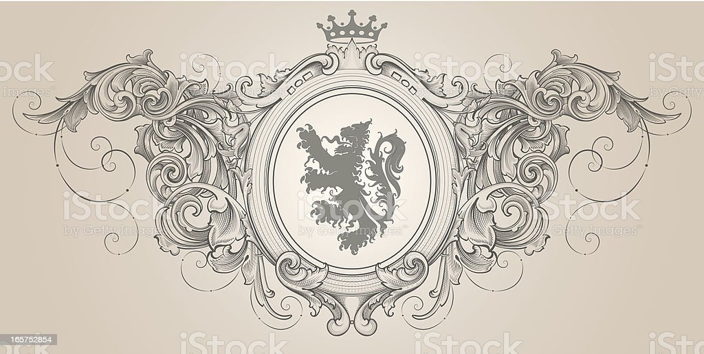 Baroque Lion Crest coat of arms royalty-free stock vector art