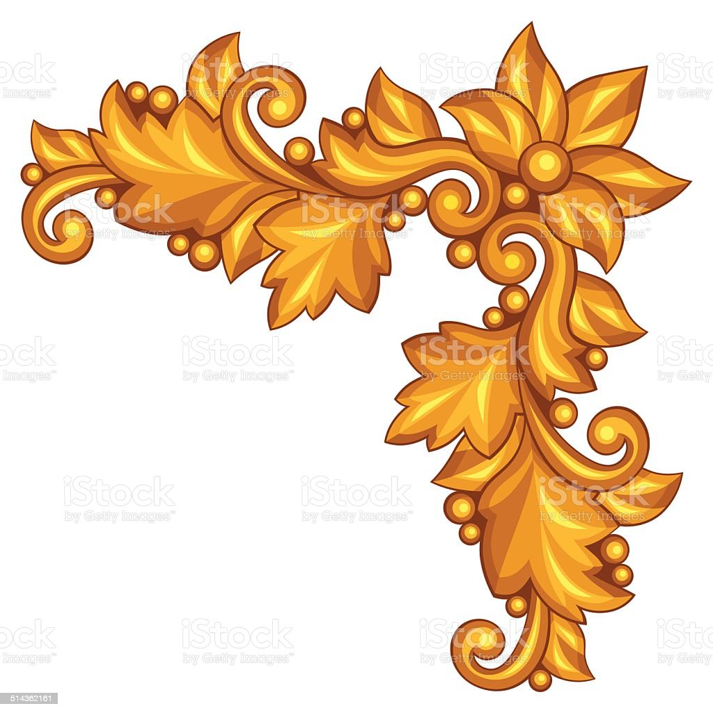 Baroque ornamental antique gold element on white background. vector art illustration