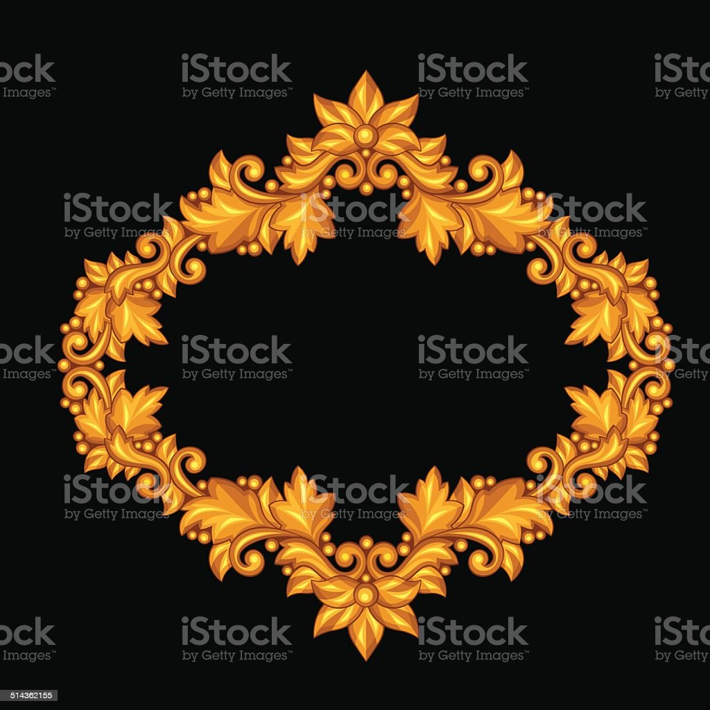 Baroque Ornamental Antique Gold Frame On Black Background